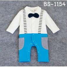 BS1154 ชุดบอดี้สูทเด็กผู้ชาย ออกงานแขนขายาว ติดหูกระต่ายสีดำ เอี๊ยมสีฟ้า