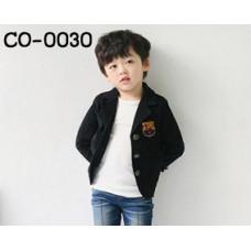 CO0030 เสื้อคุลมหนุ่มน้อยออกงาน แขนยาว ติดตราสโมสรบาเซโรน่า สีดำ