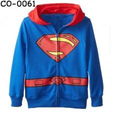 CO0061 เสื้อกันหนาวเด็ก ซิปหน้า พร้อมฮูด ลายซุปเปอร์แมน