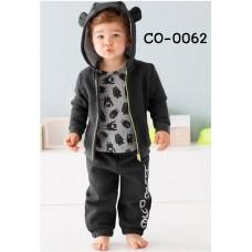 CO0062 ชุดวอร์มเด็กผู้ชาย เสื้อคลุมกันหนาวซิปหน้าแขนยาว สีดำ+ กางเกงวอร์ม สีดำ (2ชิ้น)