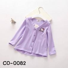 CO0082 เสื้อคลุมกันหนาวเด็กผู้หญิง แขนยาวกระดุมหน้า ปักลายคิตตี้สีม่วง S.100/110