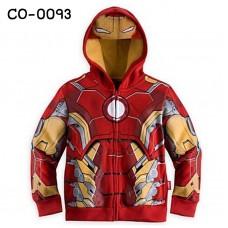 CO0093 เสื้อกันหนาวเด็ก แขนยาวซิปหน้าพร้อมฮู้ด ลายซุปเปอร์ฮีโร่ ไอรอนแมน