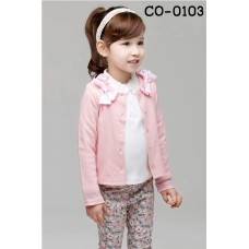 CO0103 เสื้อคลุมเด็กผู้หญิงแขนยาว กระดุมหน้าแต่งโบว์ที่บ่า สีชมพู