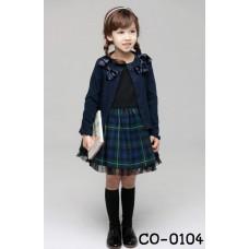 CO0104 เสื้อคลุมเด็กผู้หญิงแขนยาว กระดุมหน้าแต่งโบว์ที่บ่า สีกรมท่า S.100