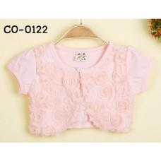 CO0122 เสื้อคลุมเด็กผู้หญิงแขนสั้น แต่งกลีบกุหลาบซ้อน สีชมพู S.90