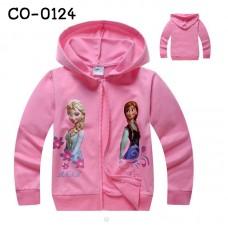 CO0124 เสื้อกันหนาวเด็ก แขนยาวซิปหน้าพร้อมฮู้ด ลาย Frozen สีชมพูอ่อน S.100
