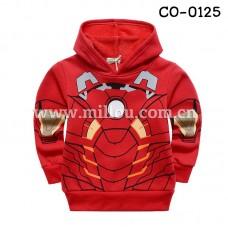 CO0125 เสื้อคลุมกันหนาวเด็กแขนยาวแบบสวมพร้อมฮู้ด ลายซุปเปอร์ฮีโร่ ไอรอนแมน S.90