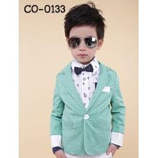 CO0133 เสื้อคลุมเด็ก /เสื้อสูทเด็ก / เสื้อแจ๊คเก็ต เด็กผู้ชาย ออกงาน แขนยาวลายจุด สีเขียว S.110