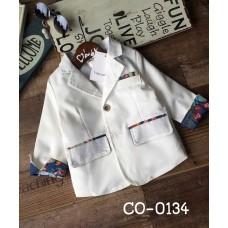 CO0134 เสื้อคลุมเด็ก /เสื้อสูทเด็ก / เสื้อแจ๊คเก็ต เด็กผู้ชาย ออกงาน แขนยาวสีขาว