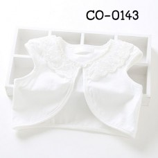 CO0143 เสื้อคลุมเด็กผู้หญิงแขนเว้า แต่งผ้าลูกไม้ระบายรอบคอ สีขาว S.100
