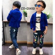 CO0145D เสื้อคลุมเด็ก /เสื้อสูทเด็ก / เสื้อแจ็คเก็ต เด็กผู้ชาย ออกงานแขนยาว สีน้ำเงิน
