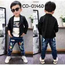 CO0146D เสื้อคลุมเด็ก /เสื้อสูทเด็ก / เสื้อแจ็คเก็ต เด็กผู้ชาย ออกงานแขนยาว สีดำ S.120/140