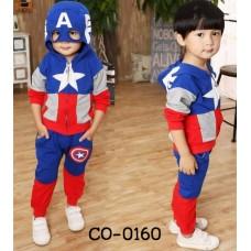 CO0160 ชุดเสื้อกันหนาวเด็ก แขนยาวซิปหน้าพร้อมฮู้ด และกางเกงขายาว ลายซุปเปอร์ฮีโร่ กัปตันอเมริกา