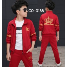 CO0188 ชุดวอร์มเด็กผู้ชาย เด็กโต เสื้อคลุมกันหนาวแขนยาวซิปหน้า ลายมงกุฎ+ กางเกงวอร์ม สีแดง (2ชิ้น)