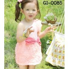 GI0085 เดรสเด็กผู้หญิง ออกงาน บ่าข้างเดียว สีชมพู