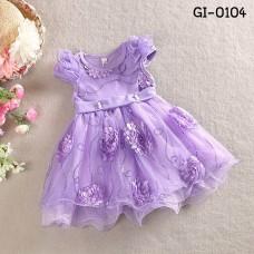 GI0104 เดรสเด็กผู้หญิงออกงาน แขนสั้น แต่งเลื่อมและดอกไม้รอบชุด สีม่วง