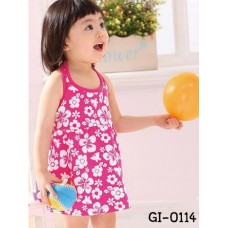 gi0114 เดรสเด็กผู้หญิง คล้องคอ สม๊อคหลัง ลายดอก สีชมพู S.110