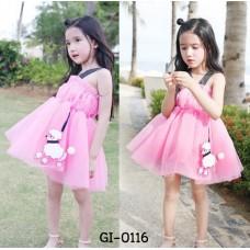 GI0116 เดรสเด็กผู้หญิง สายเดี่ยว จั๊มอก ติดโบว์จูงพุดเดิ้ล ผ้าชีฟอง สีชมพู (2ชิ้น)