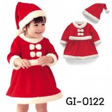 GI0122 เดรสเด็กผู้หญิง แฟนซี ซานตาครอสสีแดงแขนยาว ติดโบว์คู่ พร้อมหมวก ฉลองคริสมาสต์ (2ชิ้น)