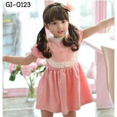 GI0123 เดรสเด็กผู้หญิง แขนสั้น คอตั้ง ระบายรอบอก แต่งกระดุม 3 เม็ดสีชมพู