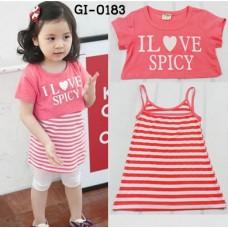 GI0183 เดรสเด็กผู้หญิง สายเดี่ยวลายขวาง + เสื้อแขนสั้นเอวลอยสกรีน I Love Spicy  สีชมพู (2ชิ้น) S.90