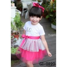 GI0220 เดรสเด็กผู้หญิงออกงาน แขนสั้น สีขาว สกรีน LOVE สีเงิน กระโปรงฟูฟ่อง สีชมพูบานเย็น