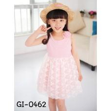 GI0462 เดรสเด็กผู้หญิง ออกงาน แขนกุด แต่งสร้อยไข่มุกสีขาว พร้อมดอกไม้ ชายผ้าลูกไม้สีชมพู