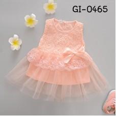 GI0465 เดรสสั้นเด็กผู้หญิง ออกงาน แขนกุด ช่วงบนแต่งผ้าลูกไม้ ติดโบว์ กระโปรงผ้าชีฟอง สีพีช (2ชิ้น)