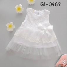 GI0467 เดรสสั้นเด็กผู้หญิง ออกงาน แขนกุด ช่วงบนแต่งผ้าลูกไม้ ติดโบว์ กระโปรงผ้าชีฟอง สีขาว