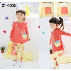 GI0502 ชุดเด็กผู้หญิง เสื้อคอกลม แขนยาว สีส้ม สกรีนกระเป๋าสะพายกระต่าย + กางเกงขายาว สีเหลืองส้ม (2ชิ้น) S.120