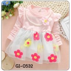GI0532 เดรสสั้นเด็กผู้หญิง แขนยาว พร้อมสร้อยไข่มุกติดดอกไม้ (ถอดออกได้) ชายกระโปรงปักดอกไม้ สีชมพูอ่อน