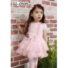 GI0535 เดรสเด็กผู้หญิง แขนสั้น ติดโบว์แต่งเพชร กระโปรงระบายเป็นชั้นๆ สีชมพู S.120