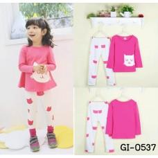 GI0537 ชุดเด็กผู้หญิง เสื้อคอกลม แขนยาว สีชมพู สกรีนหน้าแมวเหมียว + กางเกงขายาว สีขาวชมพู (2ชิ้น) S.110