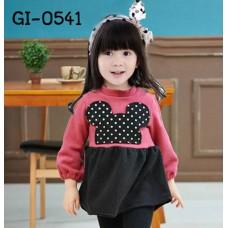 GI0541 เดรสสั้นเด็กผู้หญิง คอกลม ติดหน้ามินนี่เมาส์ ลายจุดสีดำ แขนยาว จั๊มปลายแขน สีชมพู S.110/130