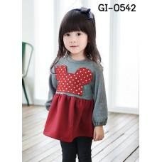 GI0542 เดรสสั้นเด็กผู้หญิง คอกลม ติดหน้ามินนี่เมาส์ ลายจุดสีแดงอมส้ม แขนยาว จั๊มปลายแขน สีเทา S.100/110