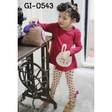 GI0543 ชุดเด็กผู้หญิง เสื้อคอกลม ทรงเอ แขนยาว สีแดง สกรีนหน้ากระต่าย + กางเกงขายาว ติดโบว์ 2 ด้าน ลายจุดสีขาว (2ชิ้น)