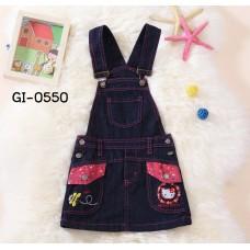 GI0550 เอี๊ยมยีนส์เด็กผู้หญิง ปักหน้าคิตตี้ แต่งขอบดาวสีชมพู สียีนส์เข้ม S.90/110
