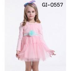 GI0557 เดรสเด็กผู้หญิง ออกงาน แขนยาว แต่งไข่มุกที่คอ ริบบิ้นผูกเอว และเข็มกลัดดอกไม้ (ถอดออกได้) สีเขียว กระโปรงฟูฟ่องสีชมพู (3ชิ้น)