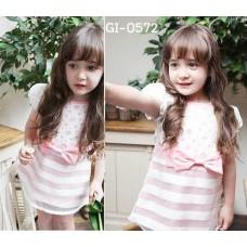 GI0572 เดรสเด็กผู้หญิง ช่วงผ้าบนลูกไม้ แขนจั๊ม แต่งโบว์ที่เอว ช่วงล่างผ้าแก้ว สีขาวสลับชมพู