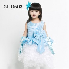 GI0603 เดรสเด็กผู้หญิง ออกงาน แขนกุด ผ้าซาติน ชายกระโปรงย้วยเป็นชั้นๆ สีขาว แต่งโบว์ทั้งด้านหน้าด้านหลัง สีฟ้า