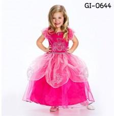 GI0644 ชุดเด็กผู้หญิง แฟนซี แนวเจ้าหญิง แขนสั้น ติดเพชรที่อก สีชมพูเข้ม
