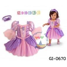 GI0670 เดรสเด็กผู้หญิง แฟนซี แนวเจ้าหญิง จี้ลาย Frozen ล้อมเพชร แขนสั้นไหล่พอง สีม่วงชมพู พร้อมผ้าคาดผม (2ชิ้น)