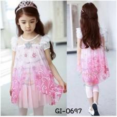 GI0697 เดรสเด็กผู้หญิง ออกงาน Frozen แนวเจ้าหญิงแสนสวย ติดเพชรที่อก แต่งผ้าลูกไม้ลายดอกไม้โทนสีชมพูแดง