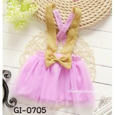 GI0705 เอี๊ยมกระโปรงเด็กผู้หญิง สายเอี๊ยม และโบว์สีทอง กระโปรงฟูฟ่อง สีม่วง