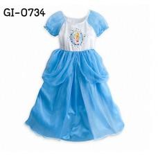 GI0734 เดรสเด็กผู้หญิง ออกงาน แนวแฟนซี ซินเดอเรล่า สีฟ้าขาว S.150