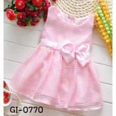 GI0770X << สินค้ามีตำหนิ >> ชุดเดรสเด็กผู้หญิง ชุดราตรีเด็กออกงาน แขนกุด แต่งโบว์ที่เอว ลายตาราง สีชมพู S.120