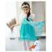 GI0777 เดรสเด็กผู้หญิง ออกงาน Frozen แนวเจ้าหญิงแสนสวย ติดเพชรที่อก แต่งผ้าลูกไม้ลายดอกไม้โทนสีฟ้า S.130