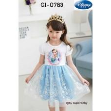 GI0783 เดรสเด็กผู้หญิง แฟนซี คอกลม แขนสั้น ลาย Frozen ที่อก กระโปรงผ้าลูกไม้ สีขาวฟ้า