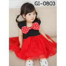 GI0803 เดรสเด็กผู้หญิง หูมินนี่เมาส์ปิดบ่าสีดำ ติดโบว์ใหญ่ลายจุดสีแดง S.80/90
