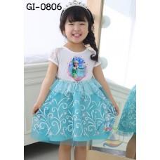 GI0806 เดรสเด็กผู้หญิง แฟนซี เจ้าหญิง Frozen แขนสั้นสีขาว ระบายรอบเอว สีฟ้า